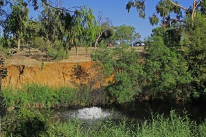 Bubble fountains installed in the river help reduce algal blooms in the hot summer months