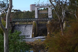 AFF Torrens Weir in winter feeding the river below