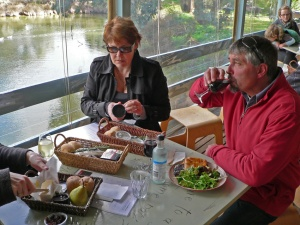 A Enjoying good food and wine while watching the wildlife