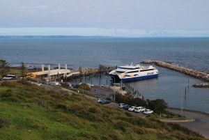 Sealink ferry docking at Cape Jervis with Kangaroo Island in background